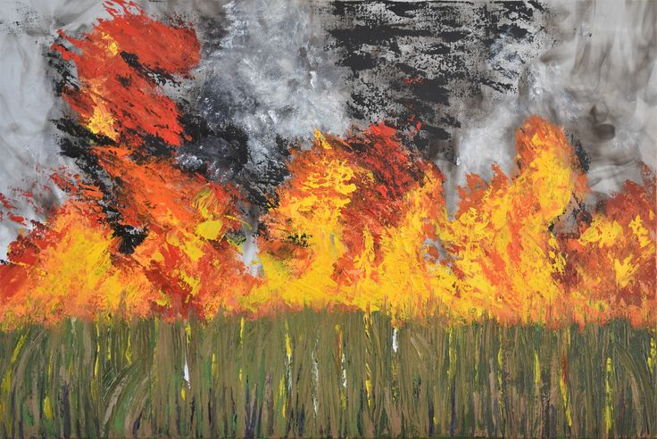 """""""Burn Off - No 3 in """"Cane Fire"""" Series """" by Deborah Christensen. Paintings for Sale. Bluethumb - Online Art Gallery"""