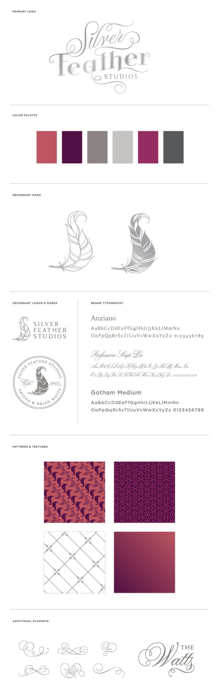 Naming, Brand Development and Identity Design for Silver Feather Studios in North Carolina