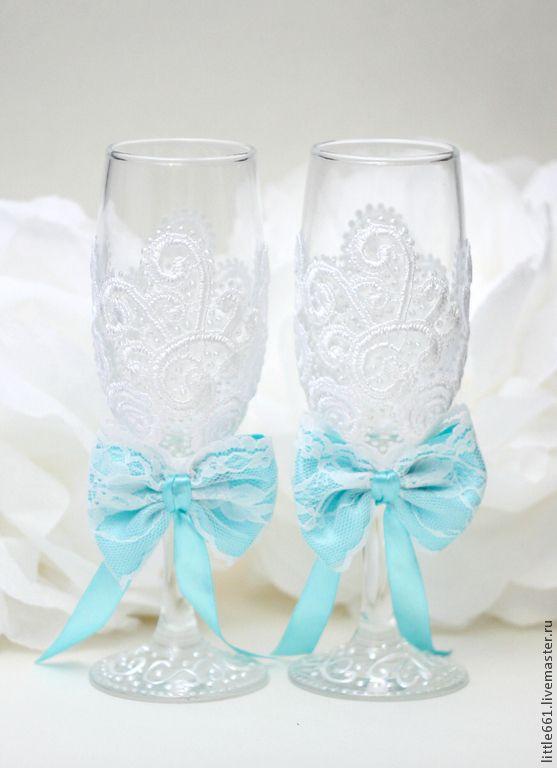 Купить Свадебные бокалы - бирюзовый, тиффани, свадебные аксессуары, свадьба, свадебные бокалы, стеклянные бокалы
