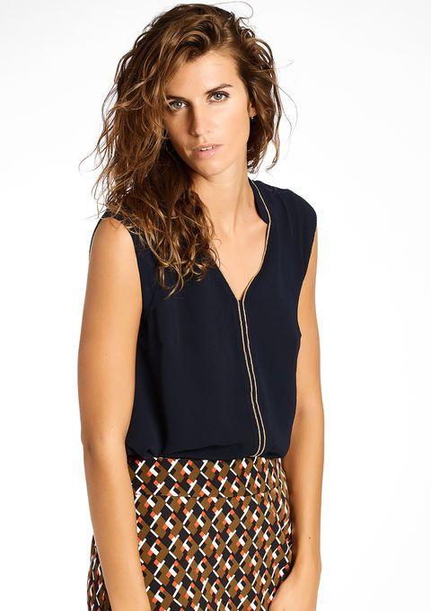 Effen mouwloze blouse - NAVY DEEPWELL - 05002390_1678