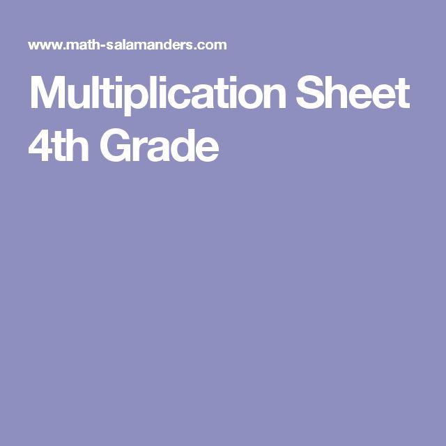 Multiplication Sheet 4th Grade