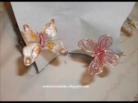 Wire flowers with nail polish; Flores de esmalte; Fiori di filo di ottone e smalto per unghie