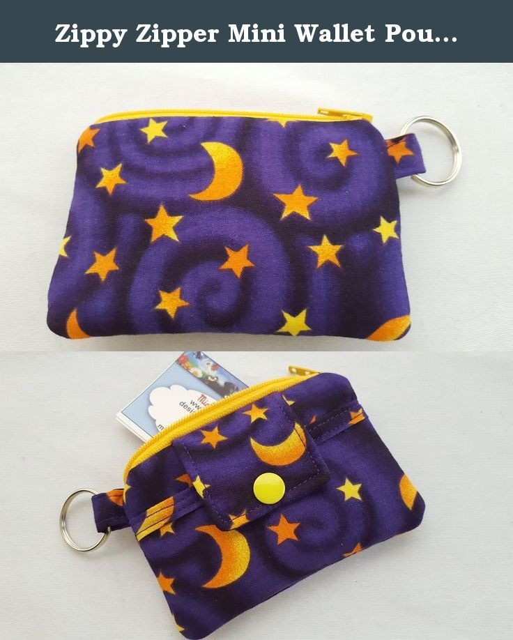 Zippy Zipper Mini Wallet Pouch Key Chain Fabric Card Holder Halloween Moon and Stars Purple. My new zippy pouch mini wallets, card holders are great gifts for anytime of the year. ● Halloween Moon and Stars fabric for the outside. ● Front pocket on the outside. ● Interfaced for strength and durability. ● Plastic snap and a zipper for closure. They are the right size for many uses: * Key chain * Business Cards * Driver's License * Gift Cards * Debit & Credit Cards * Store Reward Cards…