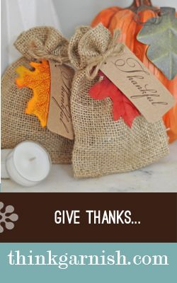 We've totally discovered #Garnish and I don't think we will ever be the same - their stuff is that awesome.  Seriously, how cute are these #burlap baggies for #Thanksgiving?  www.ThinkGarnish.com