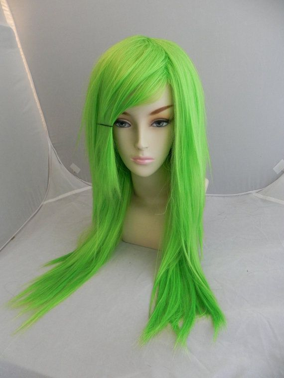 HALLOWEEN SALE // Neon Lime Green / Long Green wig, Bright Green wig, Emo Scene wig, Straight Cosplay Hair, Halloween wig, Dress Up Costume