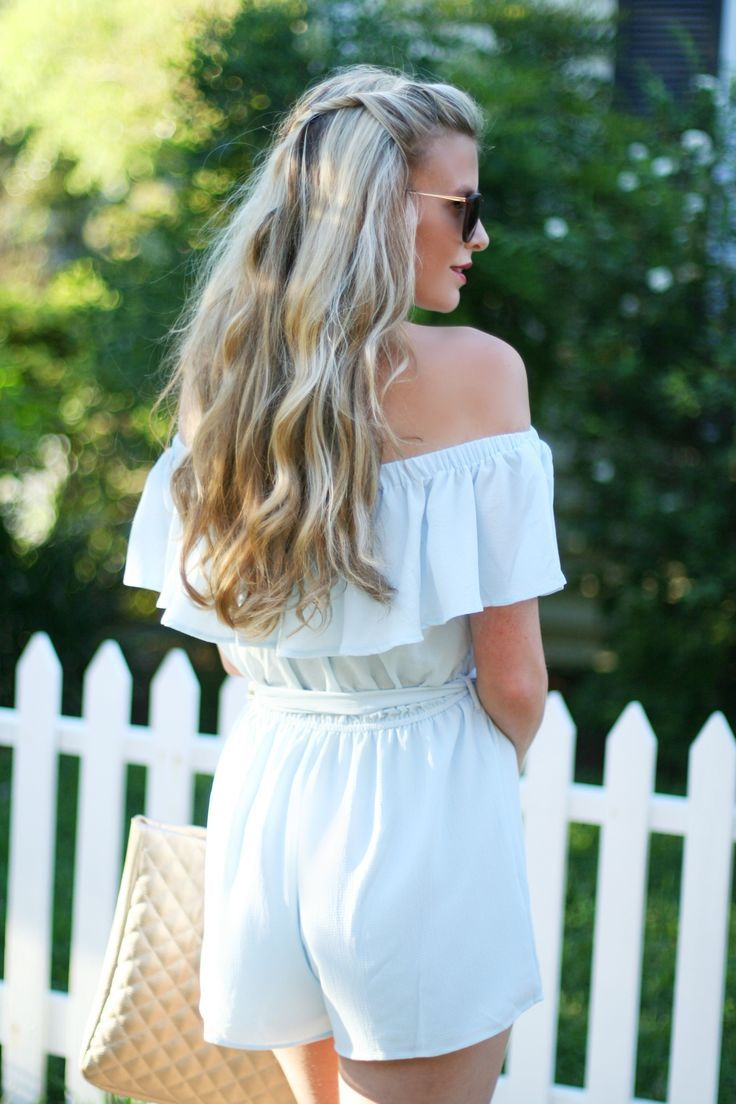Off the Shoulder Romper Under $20 statement earrings | spring rompers | light blue romper | summer romper | spring style | summer style | what to wear on beach vacation | long hair styles half up hair styles | blonde hair style | hair twist style