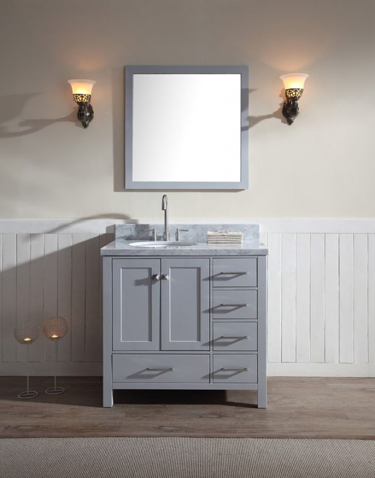 "ARIEL Cambridge 37"" Single Sink Vanity Set w/ Left Offset Sink in Grey"