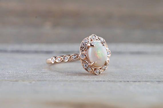 14k Rose Gold Oval Fire Opal Diamond Halo Engagement Love