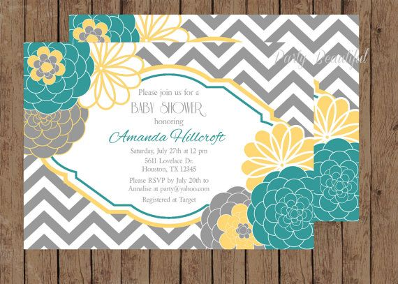 Teal And Yellow Baby Or Bridal Shower By Partybeautiful On