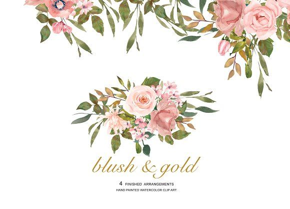 Watercolor Blush Gold Clip Art Gold Clipart Rose Gold Wallpaper Geometric Rose