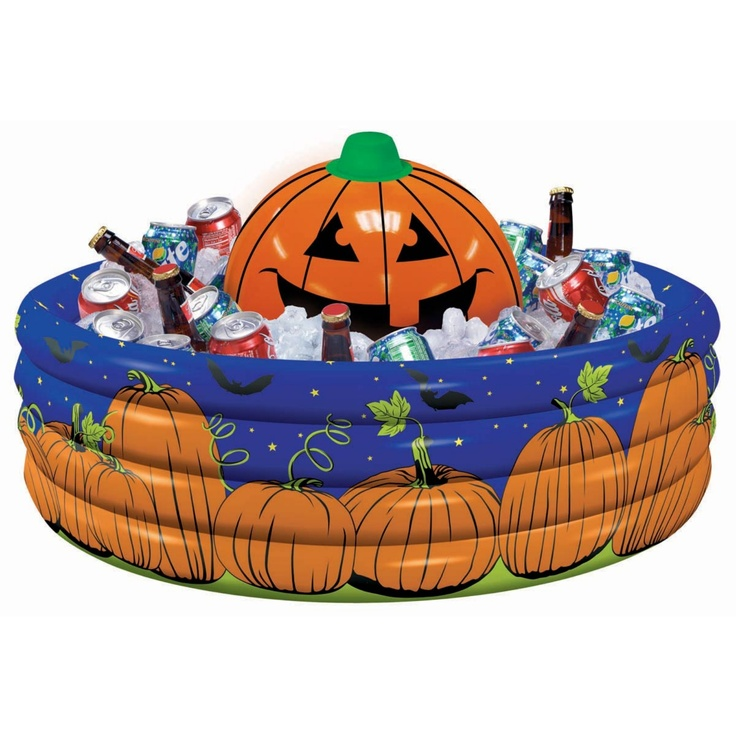 halloween party decoration of an orange inflatable drink cooler in purple with a grinning pumpkin in the centre and pumpkin vines growing around the cooler