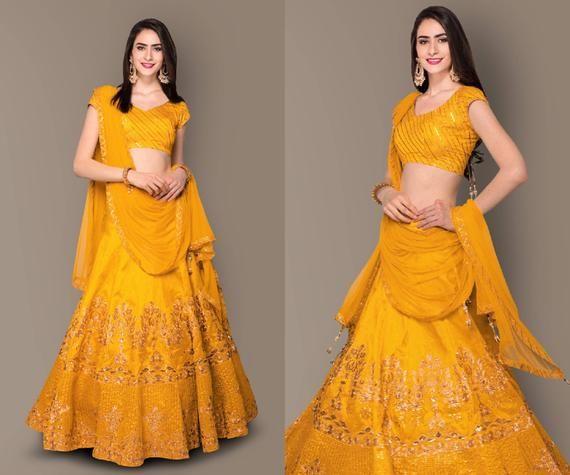 Yellow Floral Embroidery Designer Lehenga Choli for Women Indian Bridesmaids Pakistani South Asian Bridal Wedding Dress Outfit Skirt Girlish