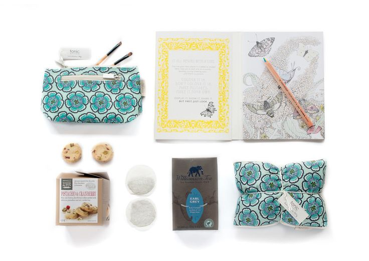 Colour Therapy Pictura Colouring Book - Williamson Earl Grey boxed Tea 125G - Whisk & Pin Pistachio & Cranberry Shortbread Bite Size Cookies 150G - Tonic Australia Heat Pillow, filled with barley to soothe your aches and pains and lavender and matching Tonic Australia Cosmetic Bag (sml).   Also included is a complementary Lyra  colour giant 4 in 1 colour pencil.