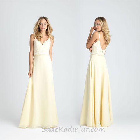 2020 Abiye Elbise Modelleri Krem Uzun Askili Sirt Dekolteli Elbise Elbise Modelleri Moda Stilleri