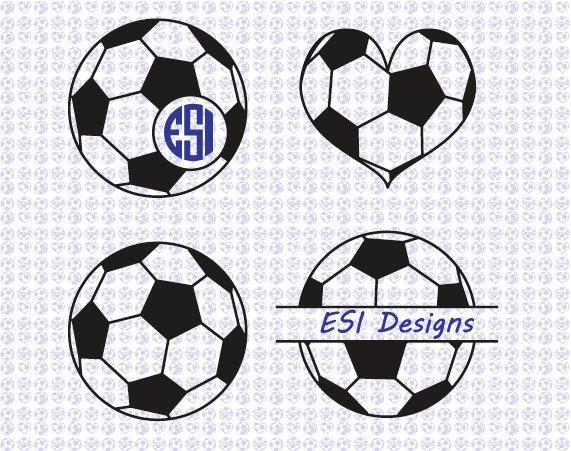 Soccer Ball Football Monogram Designs Svg Dxf Eps Files