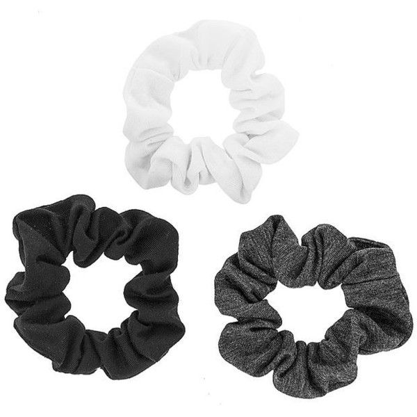 Black, White and Gray Jersey Scrunchies ($3.50) ❤ liked on Polyvore featuring accessories and white jersey
