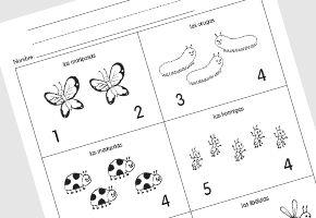 Cuenta los insectos Actividades de matemáticas gratis www.monarcalanguage.com