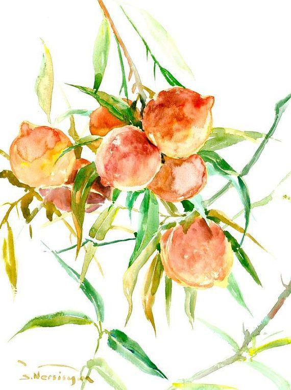 Peach art Peach tree painting, original watercolor 16 x 12 in peaches fruits kitchen wall art orange green olive green
