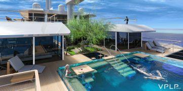 Une #piscine à parois de verre sur un yacht. Mi-voilier, mi-bateau à moteur, il disposera aussi d'un hangar à sous-marin... @vivremapiscine