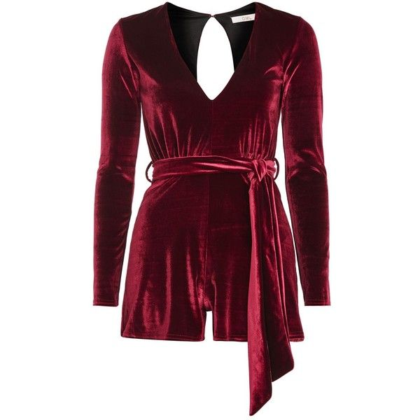 Plunge Velvet Playsuit by Oh My Love ($61) ❤ liked on Polyvore featuring jumpsuits, rompers, burgundy, plunge romper, burgundy romper, playsuit romper, long-sleeve rompers and velvet rompers