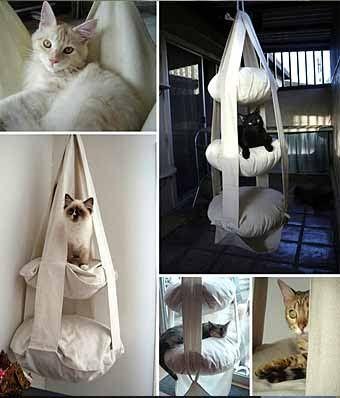 подвесной домик-подушка для кошки