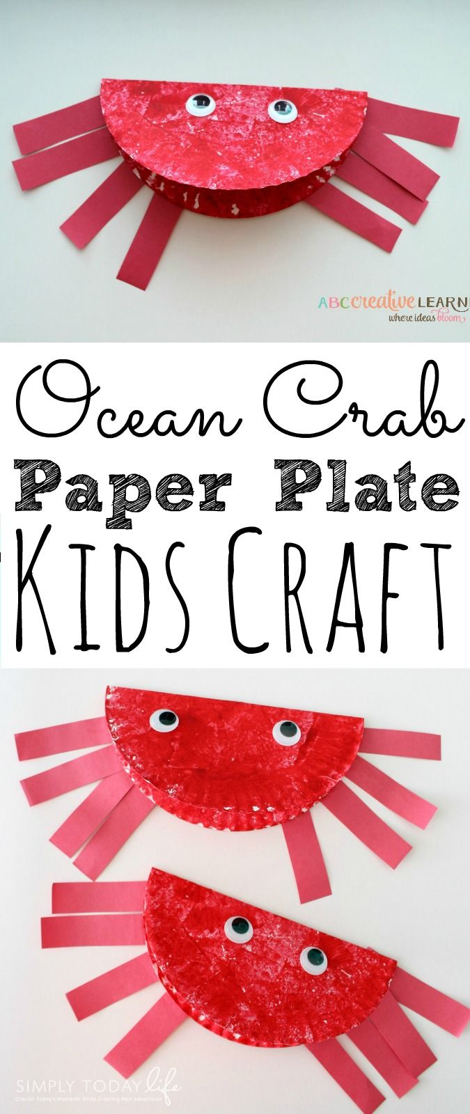 Looking for a fun summer craft? These Paper Plate Ocean Crab Craft For Kids are super easy to create! Plus, they are the perfect craft to go with your ocean or summer themed lesson! - simplytodaylife.com via @SimplyTodayLife