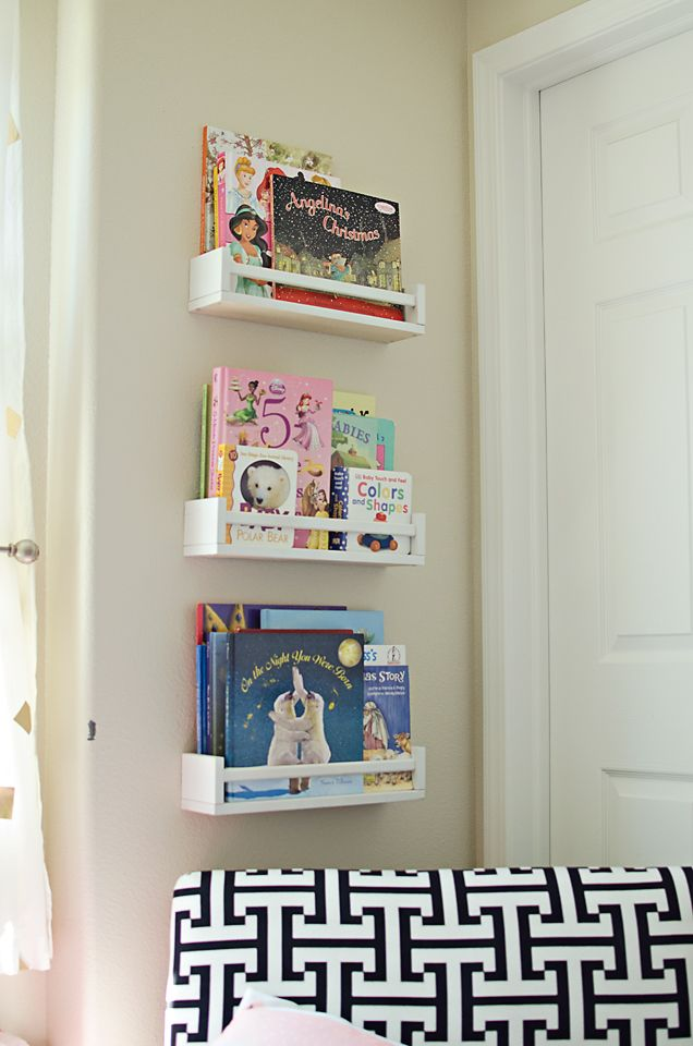 IKEA Spice Racks Turned BookshelvesModern Navy, Navy And Coral Girls Room, Ikea Bookshelf Hacks, Navy Coral, Spices Racks, Book Shelves, Gold Bedrooms, Coral Gold Girls Room, Girl Rooms