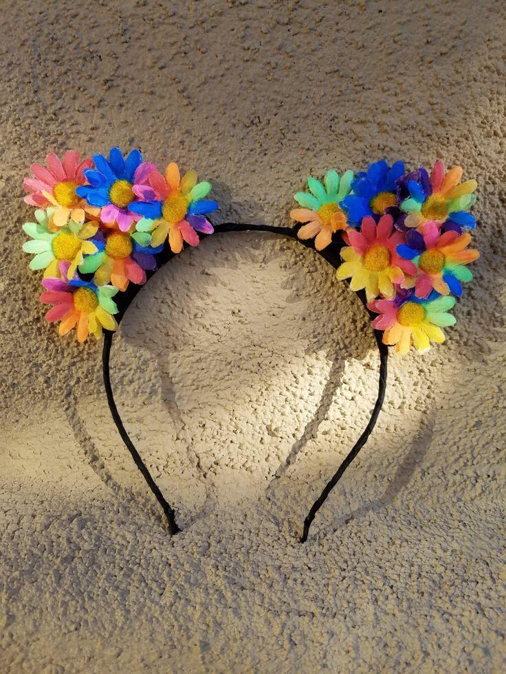 Daisy Cat Ears Headband, Daisy Headband, Rainbow Daisy Headband, Rainbow Kitty Ears, Festival ready to wear. by TheQuirkyDecorator on Etsy