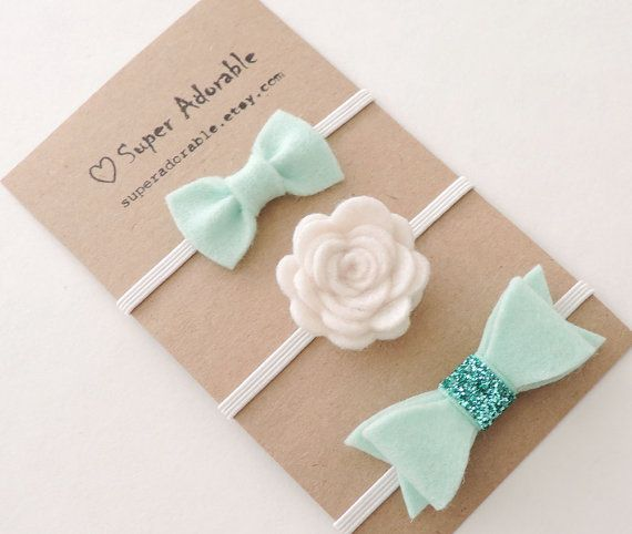 Baby Headband in Mint  - Felt Baby Headband, Baby Girl Headband, Flower Headband #design #etsymnt $12.99