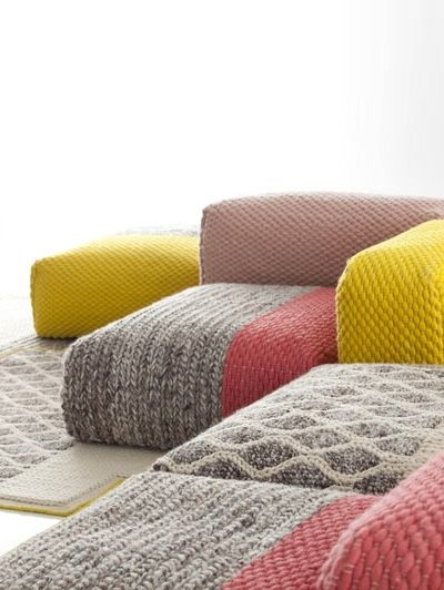 couch, carpet & footstool elements - designed by Patricia Urquiola for Gan