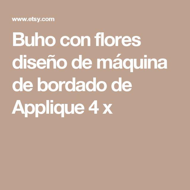 Buho con flores diseño de máquina de bordado de Applique  4 x