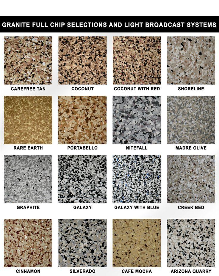 Epoxy flake color chart Garage floor paint, Garage floor
