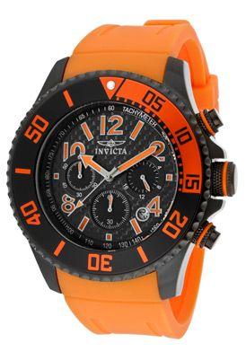 Invicta Men's Pro Diver Chronograph Black Dial Orange Polyurethane