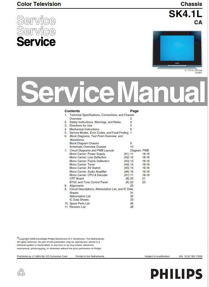 Philips 14pt4137 21pt8468c Sk4 1l Ca Tv Service Manual Schematics Philips Tv Services Manual