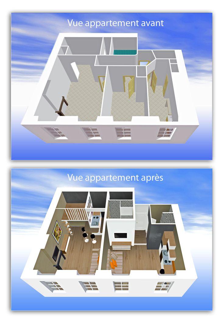 La tendance actuelle pour mes clients propriétaires : transformer un appartement de 46 m2 en 2 studios pour de la location saisonnière c'est très  rentable ...