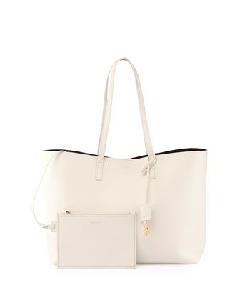 ysl city bag - Yves Saint Laurent Large Leather Shopping Tote Bag, White | Saint ...