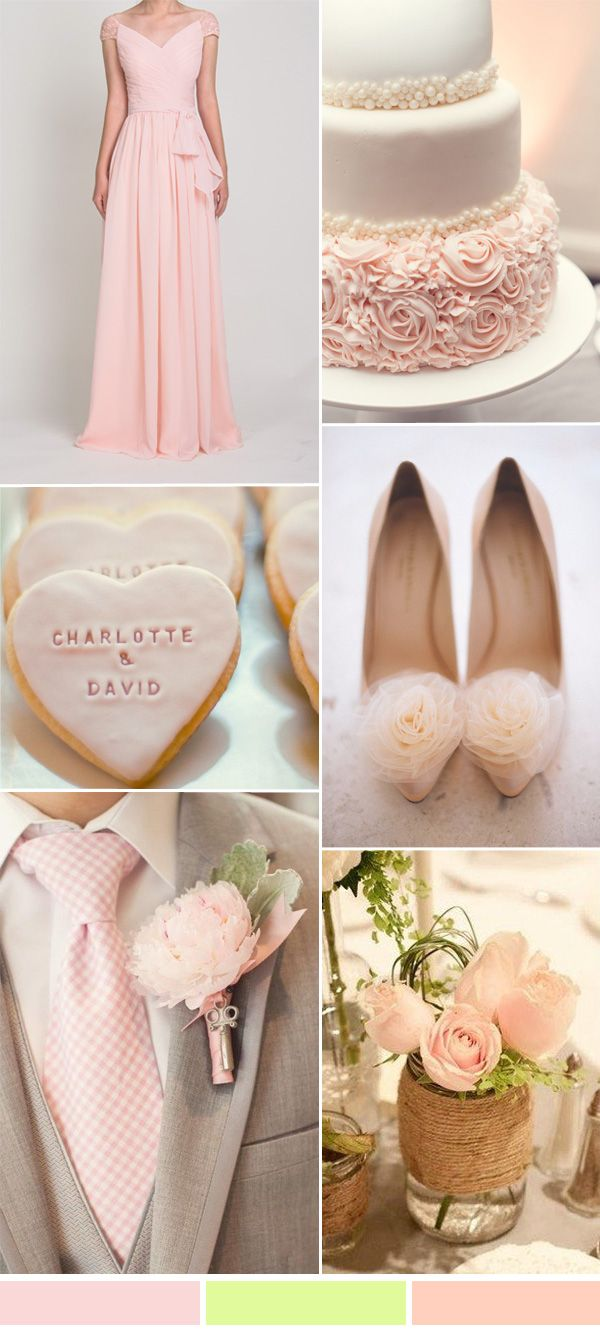 rose pink and green wedding color ideas 2016 and bridesmaid dresses