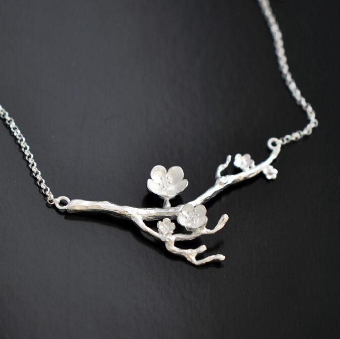 925 Sterling Silver Cherry blossom Necklace Fashion Summer Jewelry Branch Flowers Necklaces & Pendants for women Joyas De Plata
