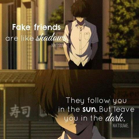 Falsos amigos são igual a uma sombra, te seguem no Sol, Mas te abandonam na escuridão.