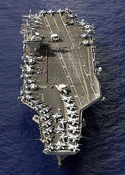 U.S. Navy supercarrier USS Nimitz on November 3, 2003. Approximately fifty aircraft can be counted on her deck...