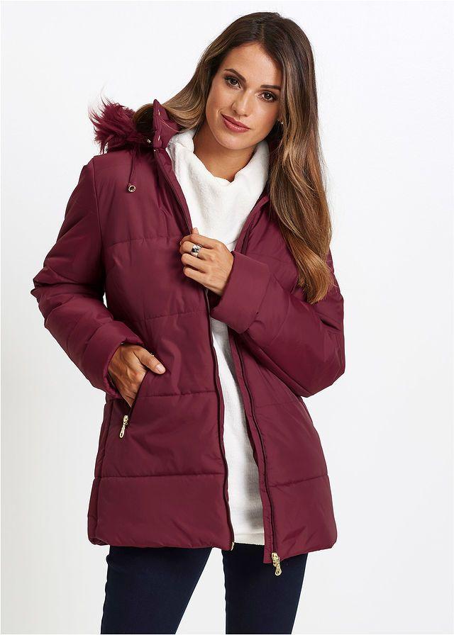 Prešívaná bunda s umelou kožušinkou • javorovo červená • bonprix obchod 2b549e922d0
