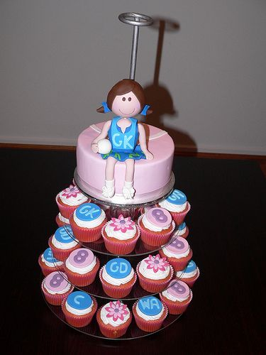 Netball cupcake tower photo by CAKEOHOLIC