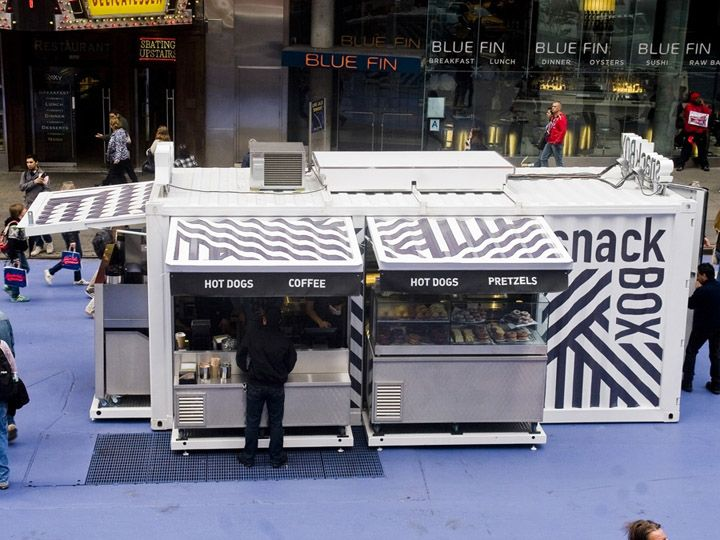 In the heart of New York City, a 6-m-long shipping container has been converted into a transportable restaurant. 'The SnackBox had to stand out in this visually saturated environment,' says entrepreneur Jonathan Morr, who created the project alongside ÆDIFICA & MüvBox. The pop-up restaurant is used on Broadway in a section closed to vehicular traffic. By night, the box is closed and locked; by day, the upper walls pivot upwards to create steel awnings.