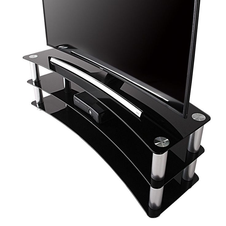 TV Stand Entertainment Center Media Furniture fit Curved Screen TV Stand up to 65inch Flat Panel Curved TVs, Load 120 Lbs, Black TV stand with media console