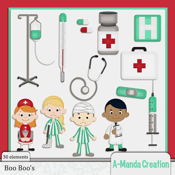 Boo Boo's and Hospital Themed Commercial Use Clip Art