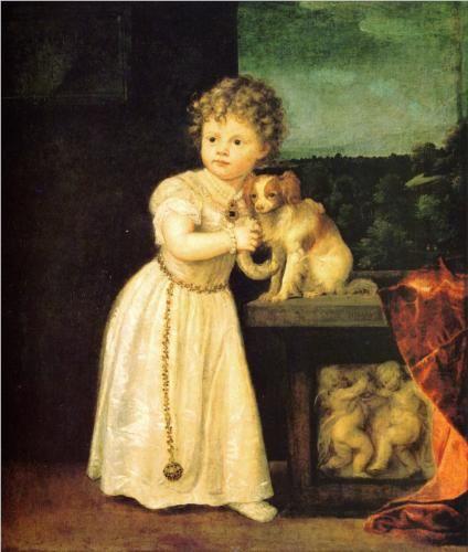 Portrait of Clarissa Strozzi - Titian.  1542.  Oil on canvas.  150 x 98 cm.  Gemaldegalerie, Staatliche Museen zu Berlin, Berlin, Germany.
