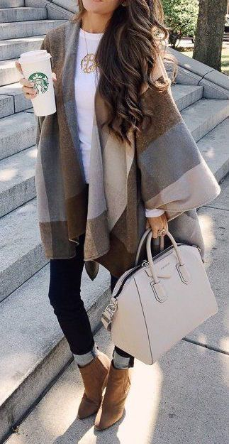 Fall Poncho Outfits  This looks so warm and cozy, yet well put together. Fashion for the Modern Mom Jo Lynne Shane