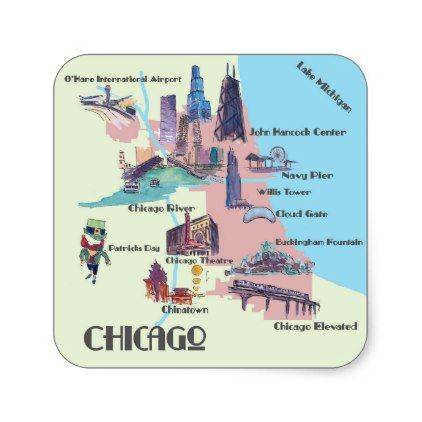 Chicago Georgia Highlights map Square Sticker - retro gifts style cyo diy special idea
