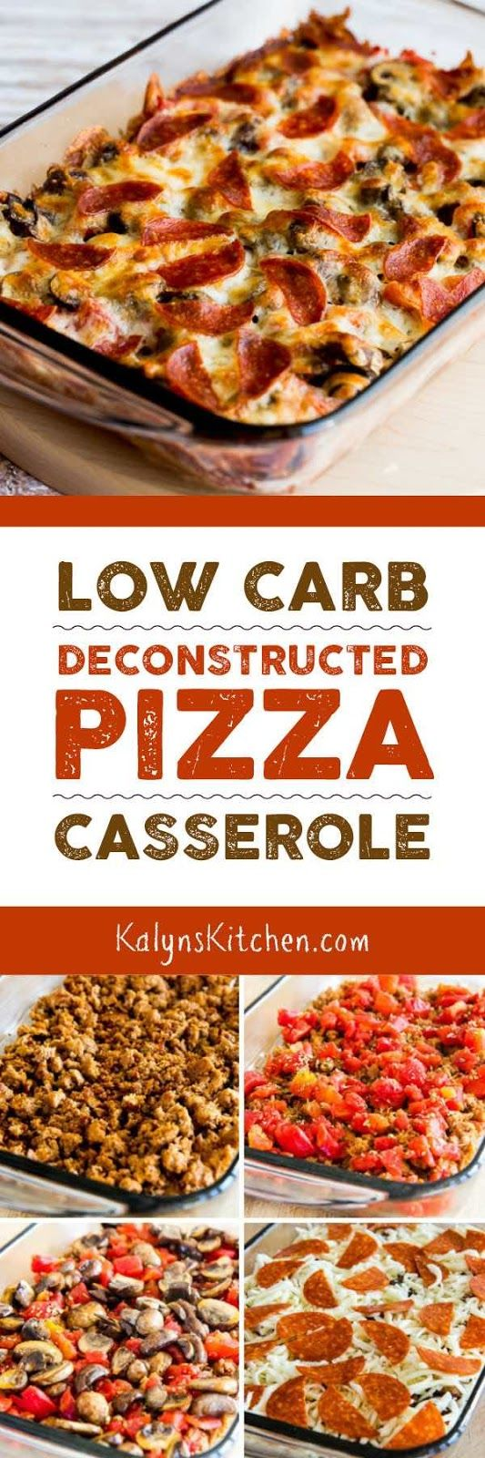 If you're trying to get back on track with carb-conscious eating AND looking for dinner ideas the family will eat, this Low-Carb Deconstructed Pizza Casserole is delicious and it's the perfect low-carb comfort food! This tasty recipe is also gluten-free and Keto. PIN NOW so you'll have it for January! [found on KalynsKitchen.com] #LowCarbPizzaCasserole #LowCarbDeconstructedPizza #LowCarbDeconstructedPizzaCasserole