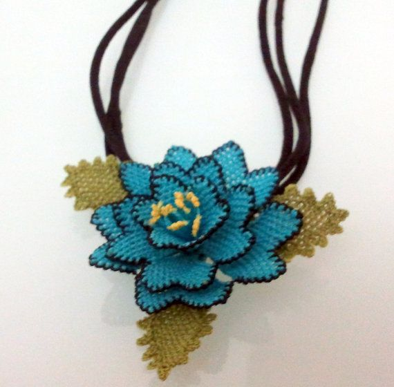 Turkish needle lace Blue crochet floral necklacenavy blue necklace by needlecrochet, $40.00